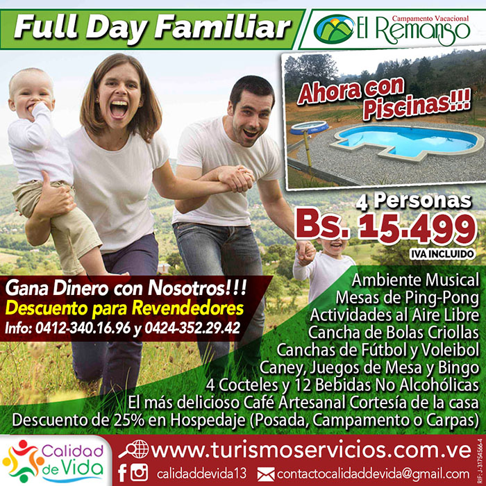 Full Day Familiar en El Remanso - 4 Personas Bs. 15.499